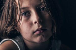 Powerful Shot of Sad Abused Child